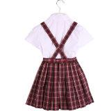 Chemise 100% de coton de coton et uniforme scolaire blancs de jupe d'écossais