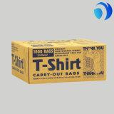 Sacchetto di acquisto felice su ordinazione di plastica della maniglia della maglia della maglietta del fronte