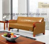 Софа офиса кожаный с деревянным подлокотником, новой моделью 2016 (SF-6092)