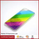 para o iPhone 6 caixas líquidas do telefone da tampa traseira da cor do arco-íris de Bling Bling do Quicksand do caso 3D do caso