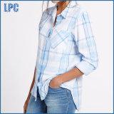 純粋な綿によって印刷される長い袖によって編まれるワイシャツ