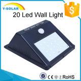 luz ahorro de energía de la pared solar de la lámpara de 2W 20LED con la luz y el sensor de movimiento SL1-38-20