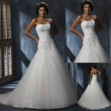 Связывает a - линию Bridal шнурок Tulle мантии отбортовывая платья венчания Bd51