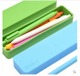 학생을%s 장식적인 깨지지 않는 사탕 색깔 장방형 문구용품 실리콘 펜 & 필통