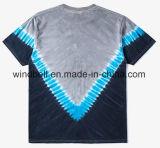 T-shirt unisexe à la mode du Jersey avec la teinture de relation étroite barrée par V et l'impression blanche de lettres