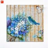 青い花束の木製の壁の芸術によっては鳥の油絵が開花する