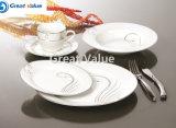 Restaurante de cerámica de la placa de cena de la venta al por mayor de la placa de cena de la porcelana, placa de cena de oro del hotel