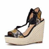 (Donna-in) sandali della piattaforma delle donne dell'alto tallone del cuoio del serpente di stile di modo