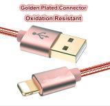 El nilón aisló el cable meatal del USB del shell del relámpago de 8 Pin para el teléfono elegante