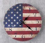 Reloj de pared al por mayor promocional de Digitaces del panel de fibras de madera