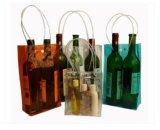 Sac transparent durable recyclable de bouteille de vin de PVC d'OEM