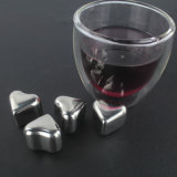 4PCS / Set Heart Shaped Whisky Stones com caixa de plástico