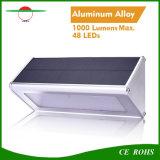 Nueva luz solar ligera montada en la pared al aire libre solar de la noche de la seguridad de la lámpara de calle del alto brillo de la aleación de aluminio de la luz 48LED del sensor de radar IP65