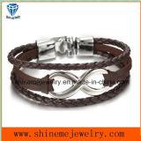 Het 8-woord van het Roestvrij staal van de Juwelen van Shineme de heet-Verkoopt Armband van het Koord van het Leer (BL2847)