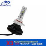 Auto farol 9005 Hb3 do diodo emissor de luz da lâmpada 50W 6000lm X3 para a luz principal do carro/caminhão