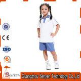 Polo-T-shirt et pantalon primaires bleus d'uniforme scolaire de coton d'usine