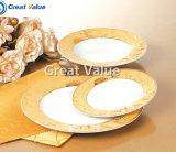 Restaurant en céramique de plaque de dîner de vente en gros de plaque de dîner de porcelaine, plaque de dîner d'or d'hôtel