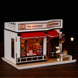 Дом куклы игрушки мебели счастливой игры семьи деревянная миниатюрная