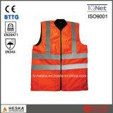Vest van de Veiligheid van het Zicht van Softshell Bodywarmer van de veiligheid het Omkeerbare Hoge