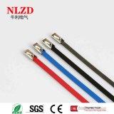 Van het de balslot van het roestvrij staal de kabelband met zwarte rode blauwe kleurendeklaag