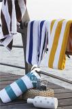 卸し売りホテルすべての綿の黄色および白い縞の水泳タオル浜のヤーンによって染められるタオル