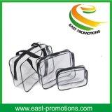 1 ensemble de 3PCS, sac clair de lavage de PVC à l'intérieur des points pochent le sac cosmétique