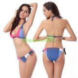 색깔 고삐 끈 Swimwears를 바느질해 여자