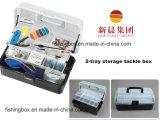 Transparen & caixa de armazenamento preta da pesca da cor 2-Tray