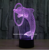 Nuovi indicatori luminosi/lampade variopinti di notte del delfino 3D LED
