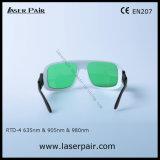 occhiali di protezione rossi del laser 635nm e laser del diodo 905nm/980nm che proteggono gli occhiali (RTD-4 630-660nm & 800-830nm & 900-1100nm) con pagina registrabile 36