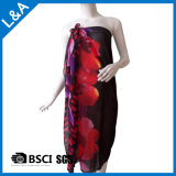 Polyester-Chiffon- gedruckter Schal für die Frauen rot