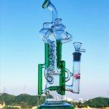 Umgekehrter Dreieck-toller Loch-Tornado filtrieren das Wasser-Glas-Rohr-Tabak-Recycler-hohe Farben-Filterglocke-Glasfertigkeit-Aschenbecher-Glas-Rohr-unbesonnene Becher-Luftblasen-Glasrauchen