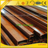 Perfil de alumínio da extrusão da grão de madeira para a decoração das mobílias