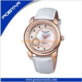 La perle en verre de saphir multifonctionnel observe la montre en cuir de bande de dames d'élégance