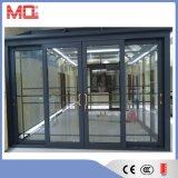 Porta deslizante de alumínio com vidro desobstruído dobro