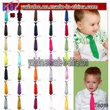 Banquete de casamento elástico da gravata do laço da garganta do cetim liso contínuo dos miúdos dos meninos das crianças (T8021)