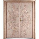 Porta de entrada principal de bronze de cobre real luxuosa do dobro da segurança da porta de entrada da porta
