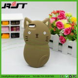 Caja del teléfono móvil del silicón del gatito de la historieta para el iPhone 5 5s