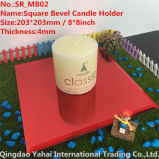4mm Red Bevel Glass Mirror Candle Holder