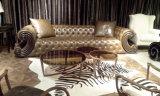 Le sofa contemporain tufté de cuir véritable a placé pour la maison (GLS-021)