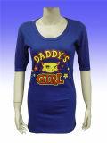 Long T-shirt de coton de femmes bon marché en gros de plaine