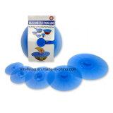 Un insieme di 5 formati di misure dei coperchi dell'alimento di aspirazione del silicone vari delle tazze, ciotole, vaschette