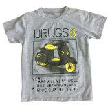 柔らかい品質Sqt-606の水プリントが付いている子供の衣服のための男の子のTシャツ