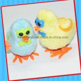 Enrouler vers le haut le double jouet de poulet de peluche en verre de dessin animé d'aile