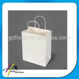 Sac blanc de cadeau de papier d'emballage d'impression bleue élégante