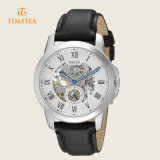 Horloge 72246 van het Leer van de Wijzerplaat van het Skelet van de Toelage van de Mensen van Timesea Automatisch Zwart