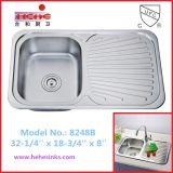 下水管のボードが付いている上の台紙の台所の流し、ステンレス鋼の流し、棒流し、洗浄流し(8248B)