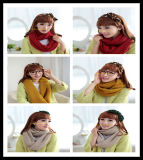 New 100% Acrylic Woman Knitted Solid Winter Round Scarf in Red Yellow Milk