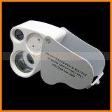 Lupe-Doppelobjektiv-Vergrößerungsglas der Schmucksache-60X, das LED-Schmucksache-Lupe faltet