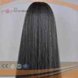 A melhor peruca superior de seda do cabelo humano do branco 100% da mistura do preto da forma